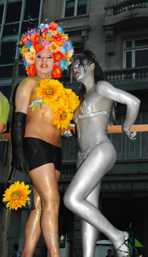Transvestites pose at the annual Buenos Aires Gay Pride parade