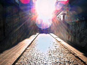 A picture of pasaje Russel, a cobblestone passageway in the Palermo neighborhood of Buenos Aires. Check out literary, architectural, walking and milonga tours on Wander Argentina.