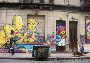 Colorful graffiti in San Telmo Buenos Aires. Check out the street art tours on Wander Argentina