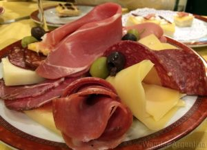 A plate of typical 'picadas' -- meat, cheese, and olives