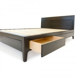 black walnut storage bed