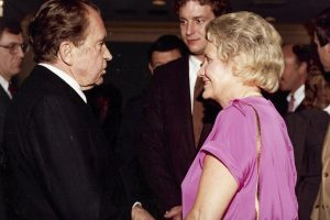 Martha Edens and her son, Ed Helms, meet with Richard Nixon during Nixon's 1982 visit to Columbia, S.C.