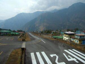 The runwaty at Lukla Tenzing hillary airport Nepal