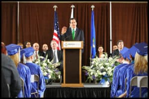 Governor Dannel P. Malloy addresses the graduating class of American Institute on April 28, 2011 at the Great Hall at Union Station in Hartford, CT.