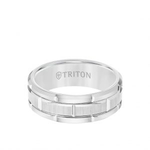 8MM Tungsten Carbide Ring - Brick Pattern Center and Flat Edge - 11-4127-8