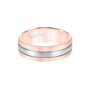 Comfort Fit Engraved Wedding Band with Brush Finish