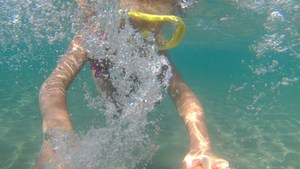 Clearing a snorkel mask by blowing in through your nose