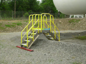 Erectastep crossover stairs over gravel berm