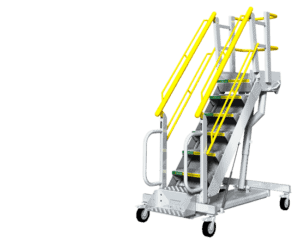 Self-leveling adjustable height rolling stairs
