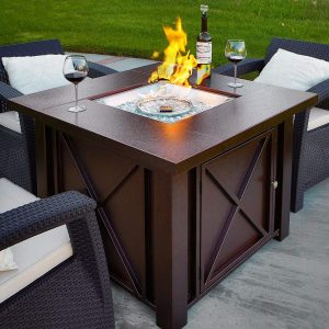 XtremepowerUS Premium Outdoor Propane Fire Pit Table