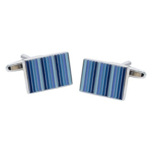 Classic Shades of Blue Stripes Cufflinks