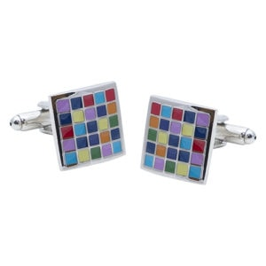 Multi colour square Cufflinks