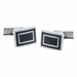 Black Rectangular Cufflinks with a Silver Outline