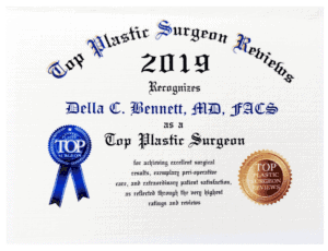 Top Plastic Surgeon Reviews Award 2019 · Awarded to Dr. Della Bennett, MD of Gemini Plastic Surgery in Rancho Cucamonga.