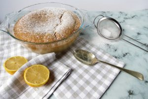 Lemon Self Saucing Pudding, an easy to make pudding that makes it's own delicious lemon curd style sauce
