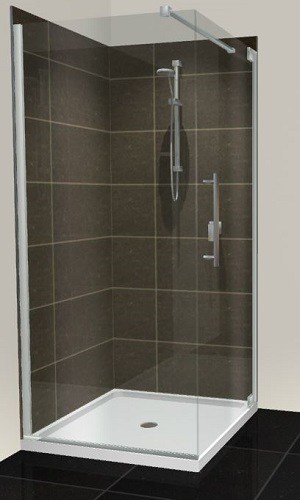 Cube Glass Shower Door Tiled Walls