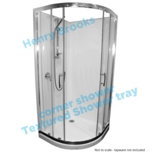 1000 x 1000 curved framed shower textured tray Henry-Brooks