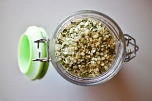 Jar of hemp seeds to make hemp milk