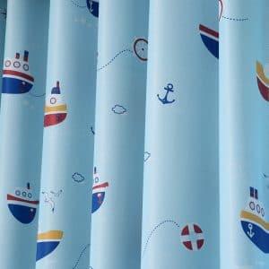 Boot gordijnen blauw