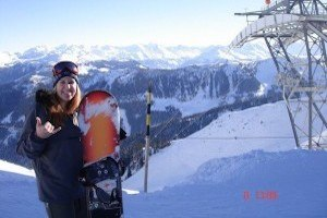 Melanie May snowboarding in Austria Information page