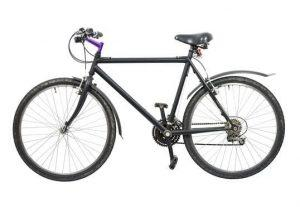 side view of a bicycle on white background