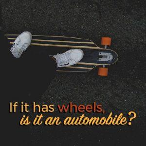 skateboarder using longboard with text overlaid in orange