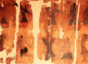 Seidentuchfragment mit gemalten Qi-Gong-Übungen, 2. Jhd. vor Christus. Hunan Museum