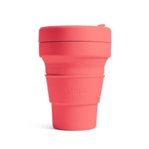 stojo Pocket Cup - der faltbare Coffee to go Becher (12oz) - coral