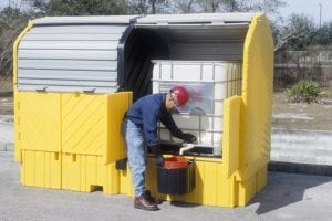 twin ibc hardtop spill pallets dispensing