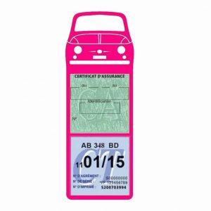 FIAT 500 Porte Vignette Assurance Voiture rose