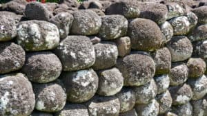 Round stacked stones of sacred monument in Tahiti