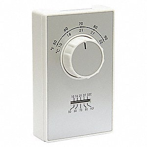 Line Voltage Mechanical Thermostat White/Metallic Plate