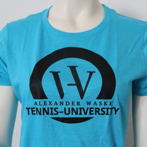Logo-Damenshirt in Blau - Vorderseite | Tennis-University