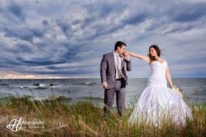 Dramatic wedding photo