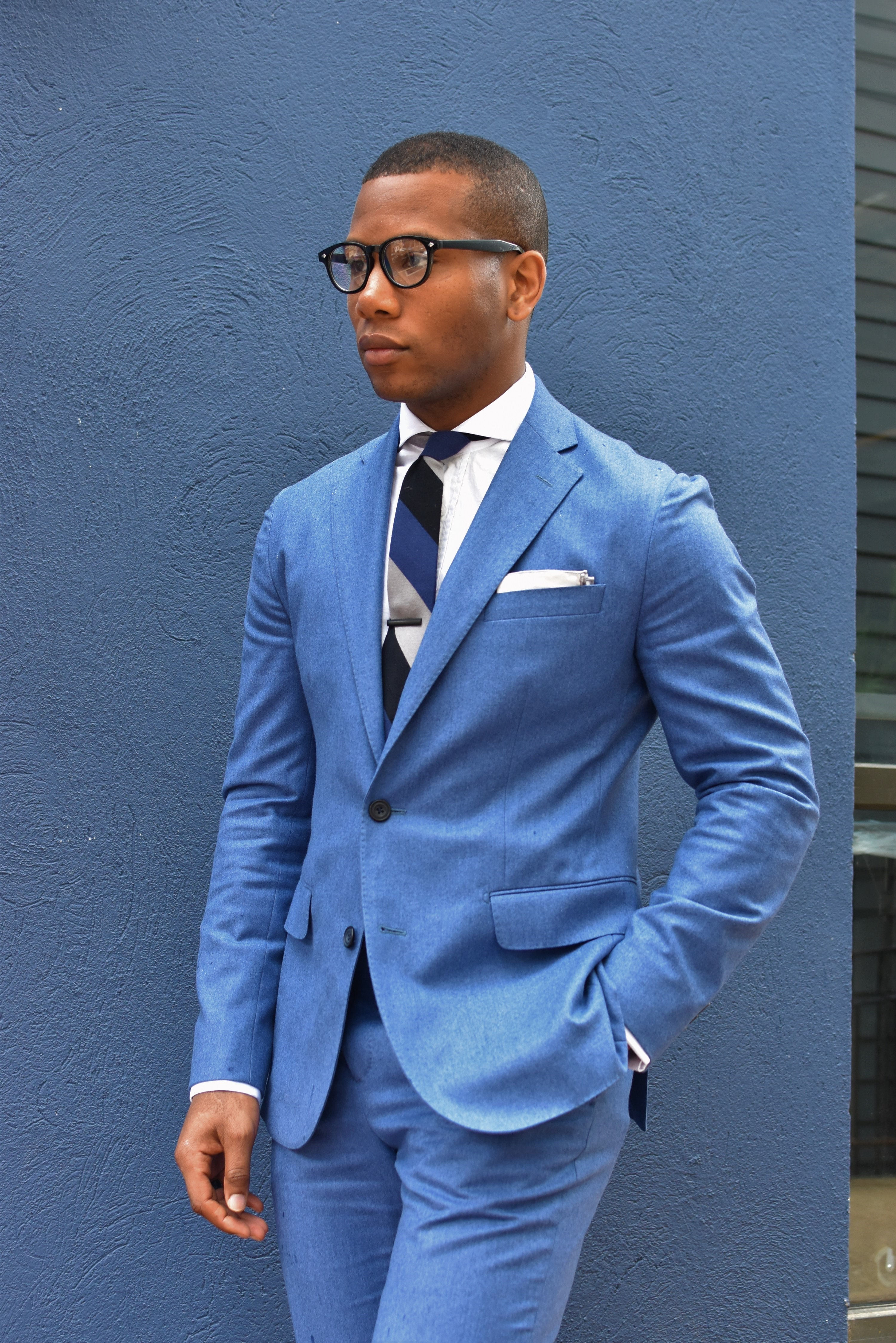 Sabir M. Peele of Men's Style Pro Hardy Amies Periwinkle Blue Suit