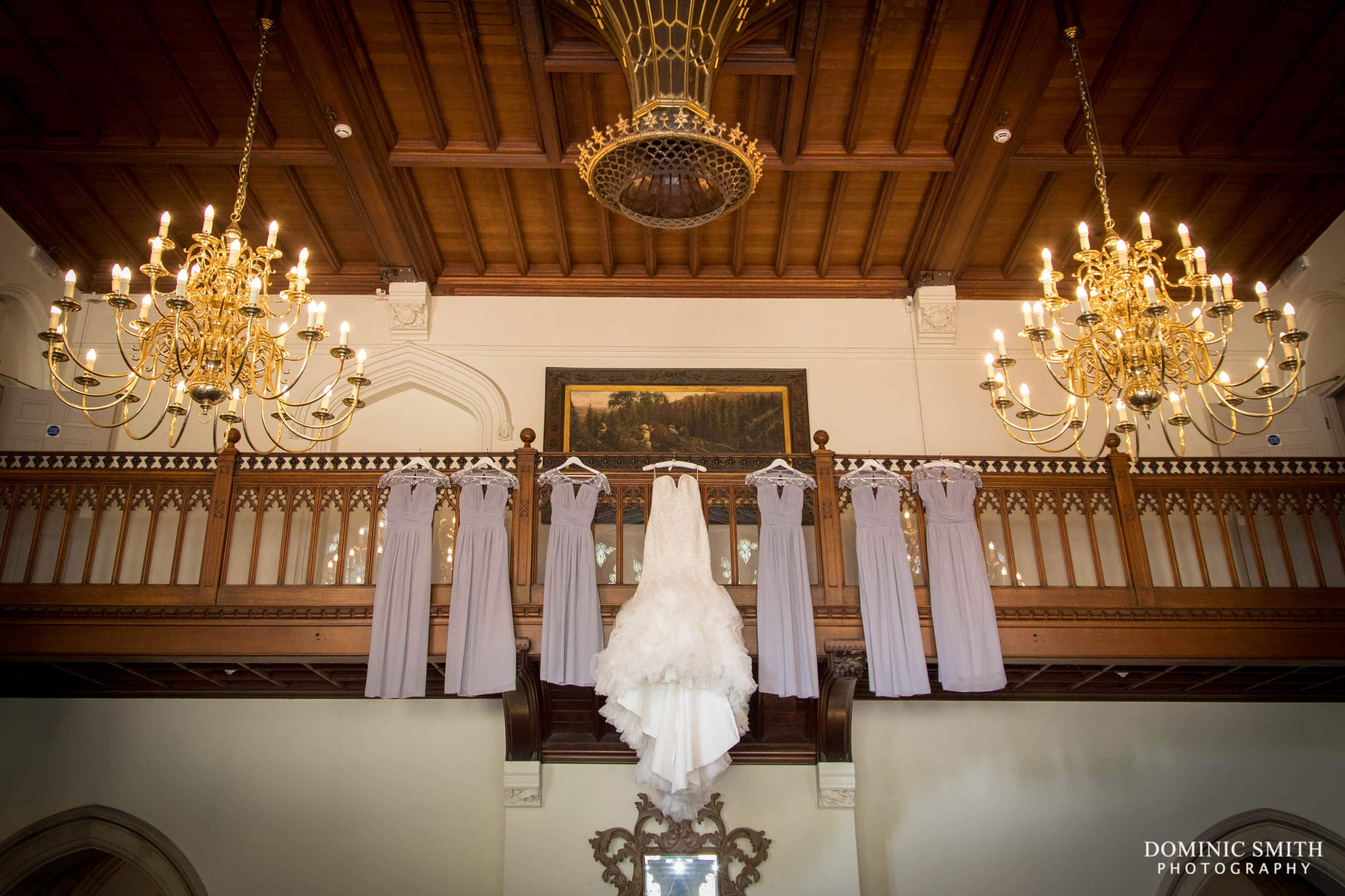 Wedding dress hanging up at Nutfield Priory