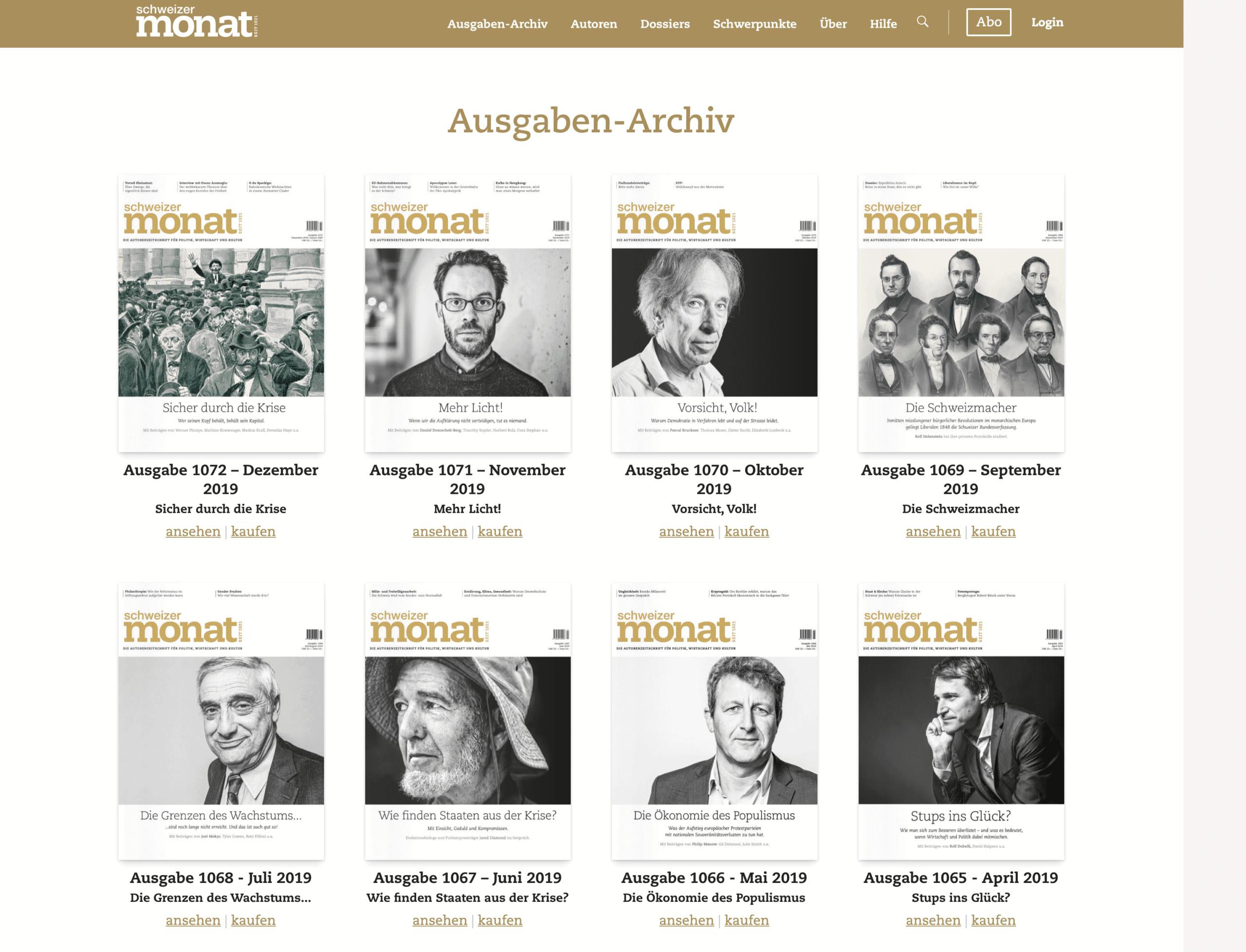 Archiv der Zeitschrift «Schweizer Monat»