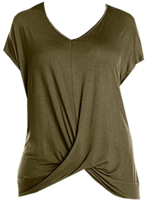 Draped t-shirt to hide tummy | 40plusstyle.com