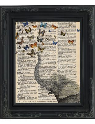 Dictionary Art Print - Whimsical Elephant and Butterflies
