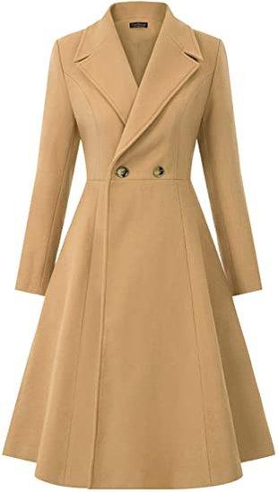 CURLBIUTY swing double breasted wool pea coat | 40plusstyle.com
