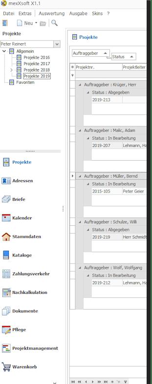 mexXsoft Handwerkersoftware - Seitenleiste / Bedienleiste