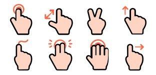 vingerbewegingen touchscreen