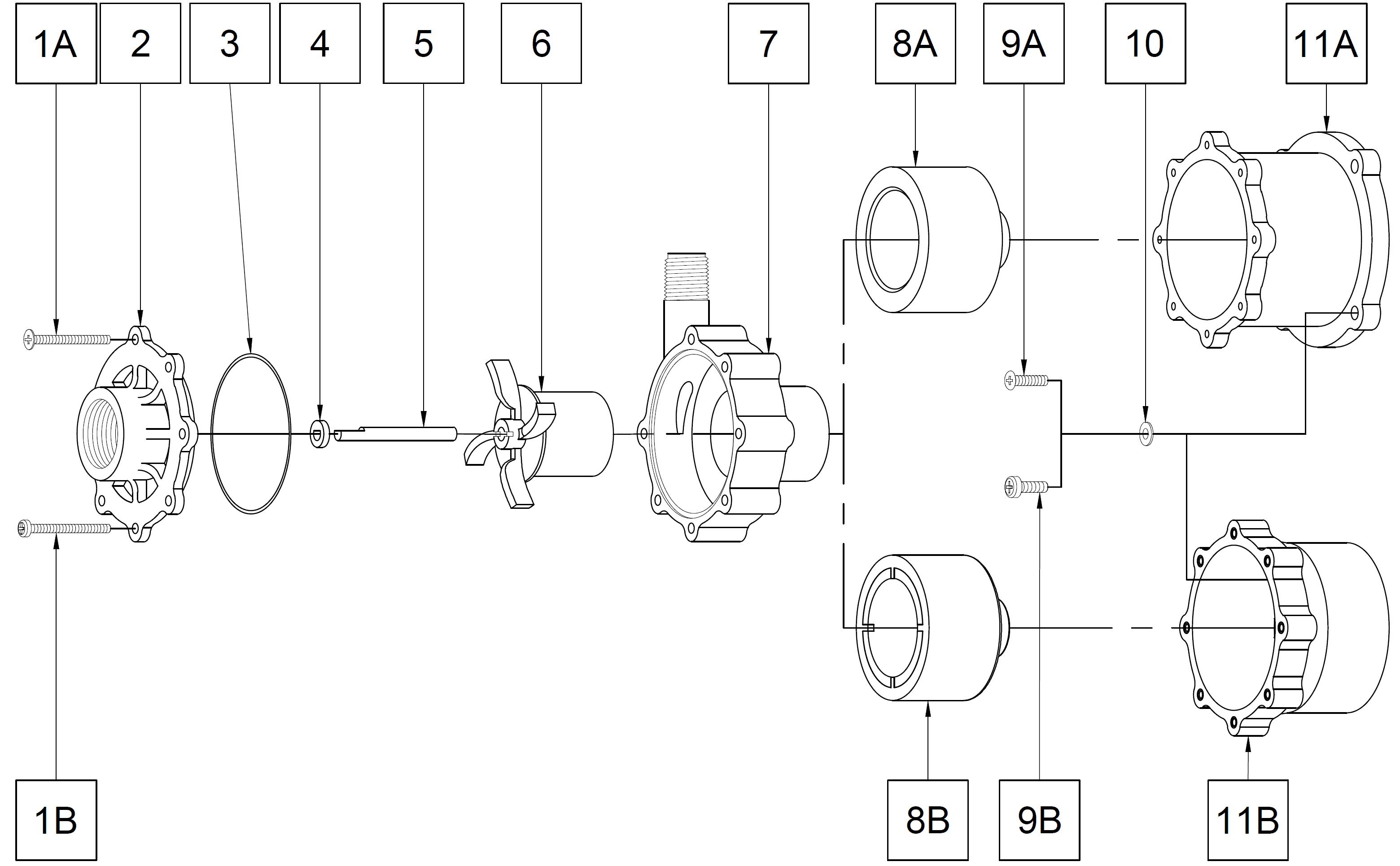 TE-5 Plastic Pump Less Motor