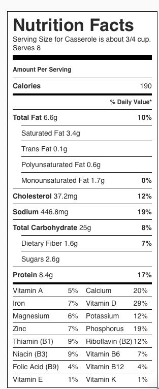 Hash Brown Casserole Nutrition Label. Each serving is about 3/4 cup.