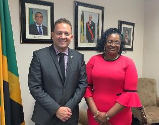 Jamaica's Consul General Hon. Oliver Mair with Rev Dr Coretta Mathie