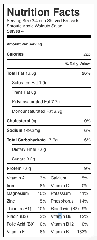 Shaved Brussels Sprouts Salad Nutrition Label. Each serving is about 3/4 cup.