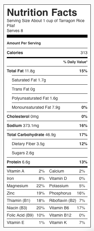 Nutrition Label for Tarragon Rice Pilaf. Each serving is about 1 cup.