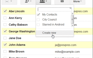 Create new group in Contacts