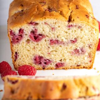 gluten free raspberry bread on white plate