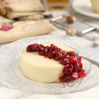 eggnog panna cotta with cranberry compote